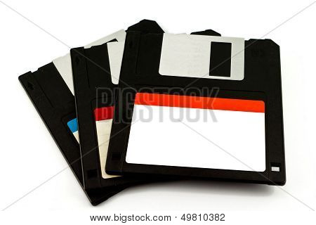 3.5 Old Diskette Isolated On White Background