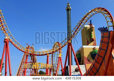 VIENNA - AUGUST, 10 : Boomerang, a Roller coaster at Wiener Prater (Prater Amusement Park) on August 10, 2012. The train has the speed of more than 85 km/h up to 37m. high ramp and do it in reverse.