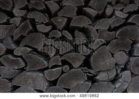 Deatil Of Pile Of Old Wooden Logs