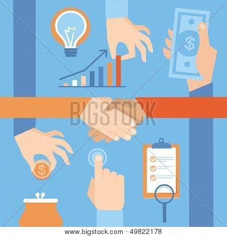 Vector Set Of Hands - Money And Handshake