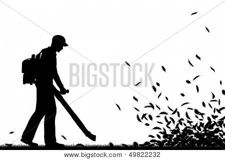Editable vector silhouette of a man using a leaf-blower to clear leaves with all elements as separate objects