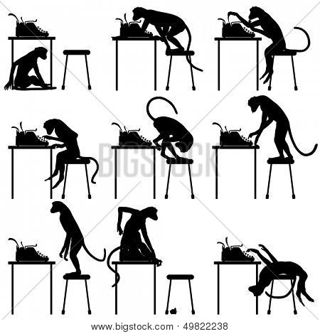 Set of editable vector silhouettes of monkeys and typewriters with all figures as separate objects