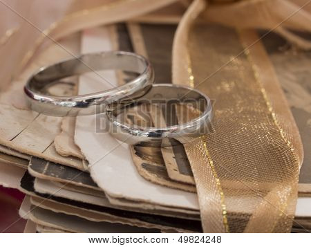wedding rings on the old photos, love forever concept