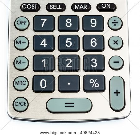 a calculator lying on a white background