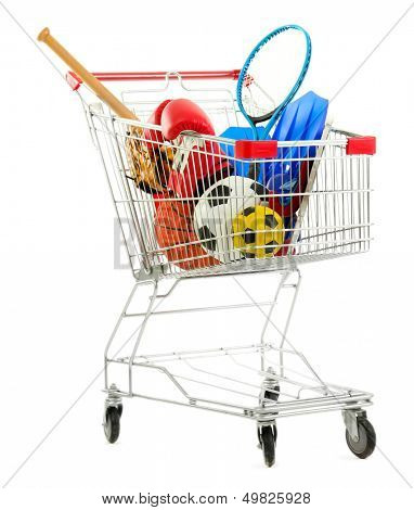 Shopping cart with sport equipment, isolated on white