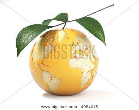 Earth Map Made On A Peeled Orange