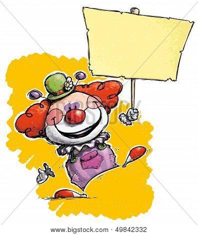Clown Hoding Plackard