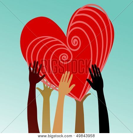 multicultural hands with heart