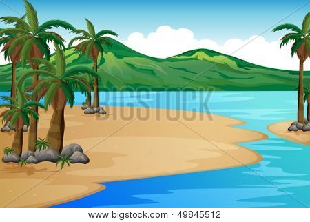 Illustration of a beach with palm trees