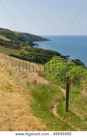 South West Coast Path from Polkerris Cornwall heading in a southerly direction