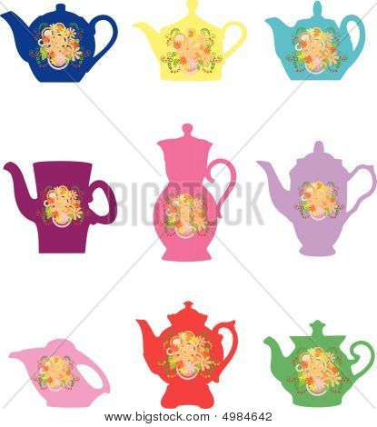 Teapots With A Flower Pattern.