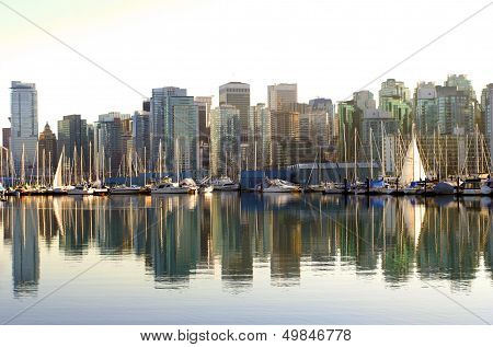 Vancouver Coal Harbor Neighborhood Marina At Sunset As Seen From Stanley Park