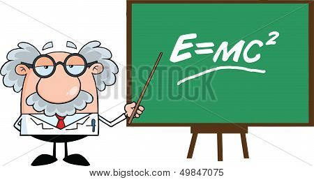 Funny Scientist Or Professor With Pointer Presenting Einstein Formula