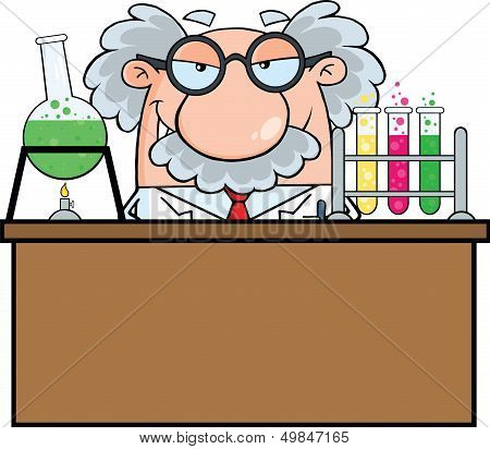 Mad Scientist Or Professor In The Laboratory
