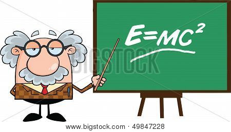 Funny Professor With Pointer Presenting Einstein Formula