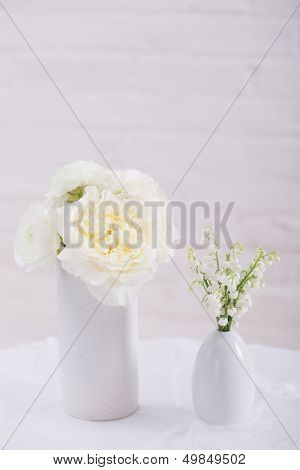 White Reception Table Setting
