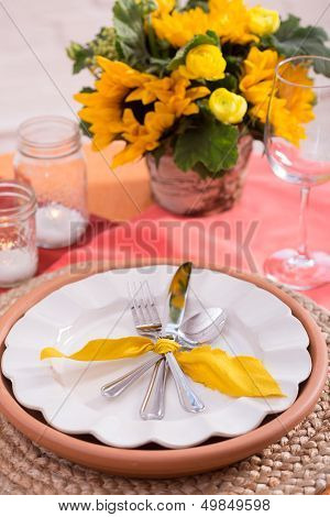 Pink and Yellow Table Setting