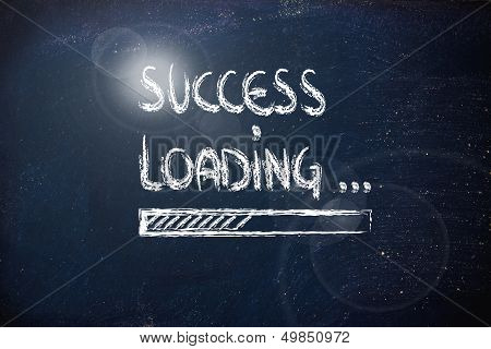 Success Loading, Progress Bar On Blackboard (sparkle)