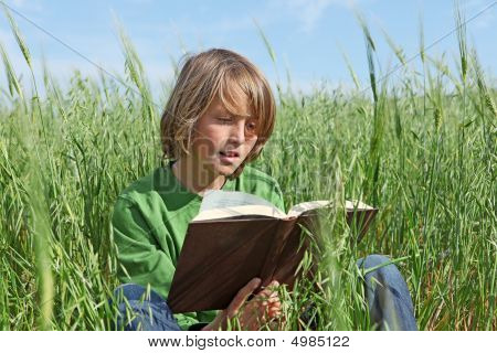Happy Child Reading Outdoors