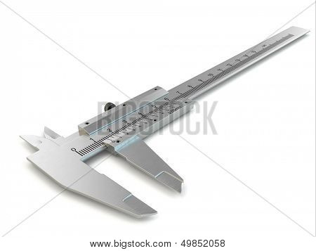 Trammel. Stainless steel caliper on white isolated background. 3d