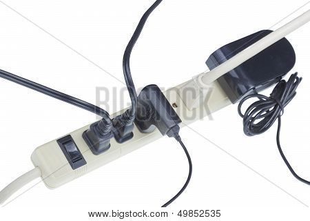 Power Extension Cord In Use.