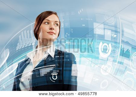 Image of attractive businesswoman against hightech background