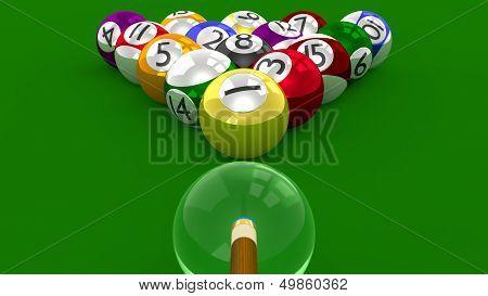8 Ball Pool  3D Game - All Balls Randomly Racked Ready For Break Shot