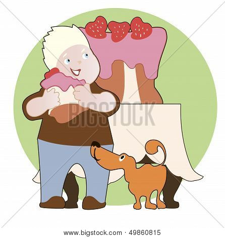 Strawberry Cake,  Boy And His Dog