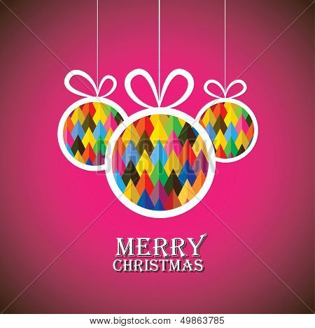 Abstract Christmas Bauble Balls On Pink Background- Vector Graphic