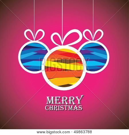 Abstract Colorful Xmas Bauble Balls On Pink Background- Vector Graphic