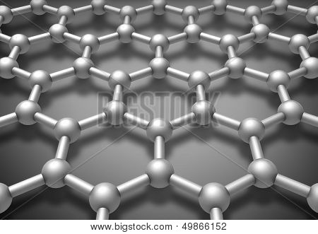 Graphene Layered Molecule Structure Schematic Model. 3D Render Illustration