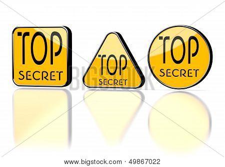 Top Secret Symbol On Three Warning Signs