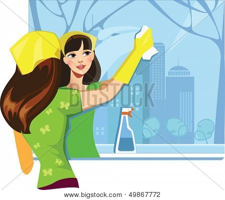 girl  wash window