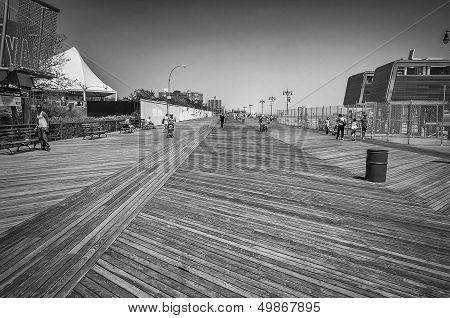 Wooden Boardwalk In Coney Island, Ny