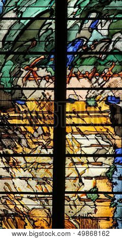 PARIS, FRANCE - NOV 07, 2012: Abstract stained glass, church is dedicated Gervasius and Protasius is one of the oldest in Paris. Known for its richly painted stained glass, Paris on Nov 07, 2012