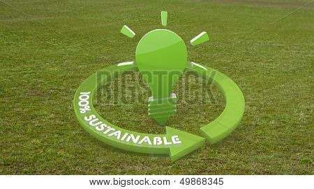 3D Graphic Of A Eco Idea Sign  On Grass