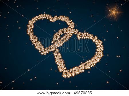 3D Render Of A Playful Two Hearts Symbol Made Of Tiny Spheres