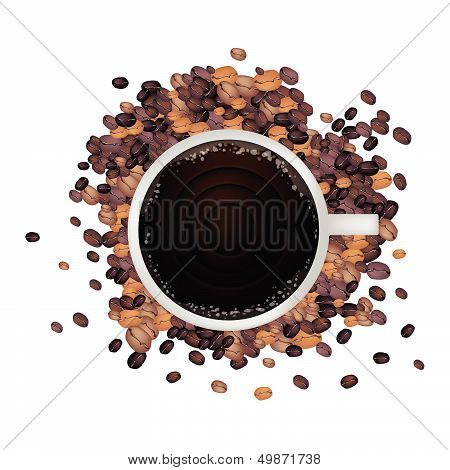 A Hot Coffee With Roasted Coffee Beans
