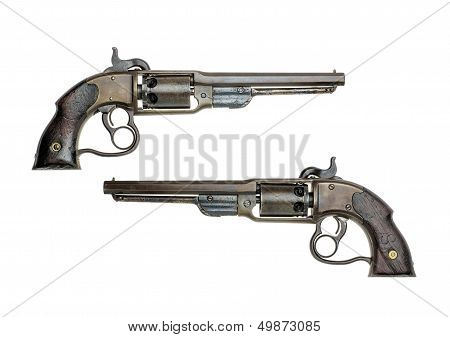 antique american Savage percussion revolver on a white background