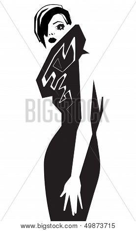 Fashion model. Scetch. Vector illustration