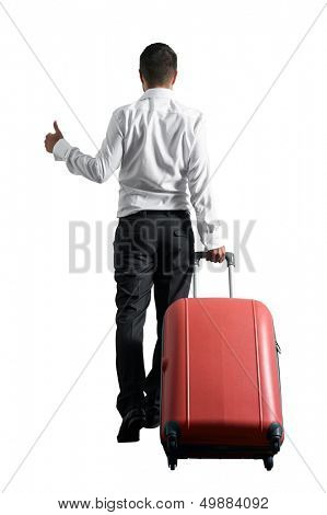 back view of businessman hitch hiking over white background