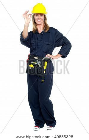 Construction Worker Showing Perfect Gesture
