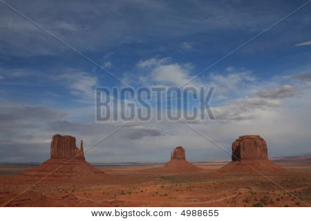 Usa, Monument Valley With Three Butes