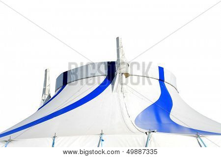 Circus big top tent in blue and white isolated.