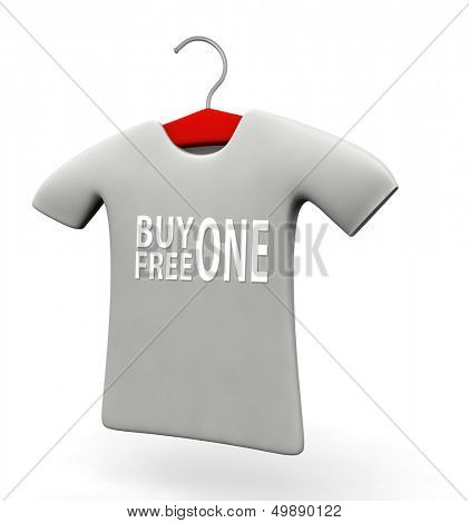 Buy one free one t-shirt concept 3d illustration isolated white background