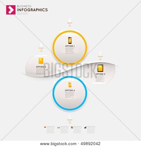 Modern infographic template with icons for business design, ribbons. Can be used for banners, cards, paper designs, website layouts, diagrams and presentations. Vector eps10 illustration.