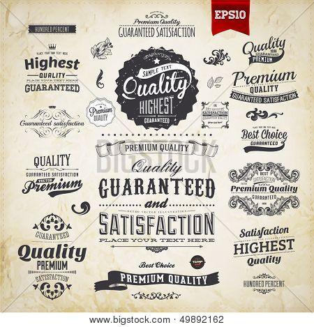 Colección de elementos retro para diseños caligráficos   Adornos Vintage   Etiquetas de calidad Premium   Gu