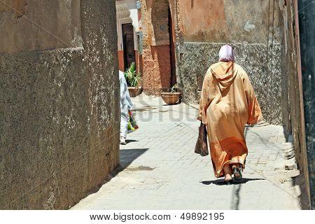 Arabian Woman In The Street Of Marrakesh, Morocco