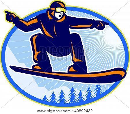Snowboarder Holding Snowboard Retro