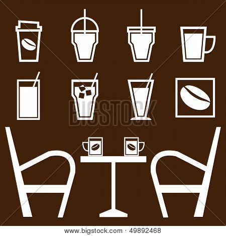 Set Of Drinks In Coffee Shop